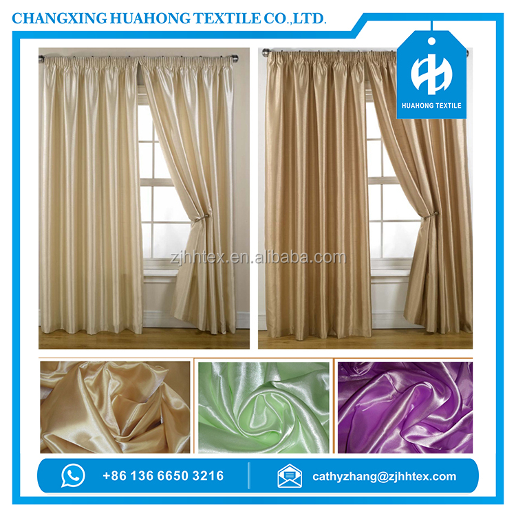 Free sample 100% polyester shiny satin 200gsm curtain material fabric