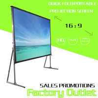 3D movie rear fabric 300 inch 4K HD fast foldable stand floor projection screen