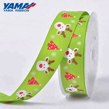 Custom printed red gift packing christmas grosgrain ribbon