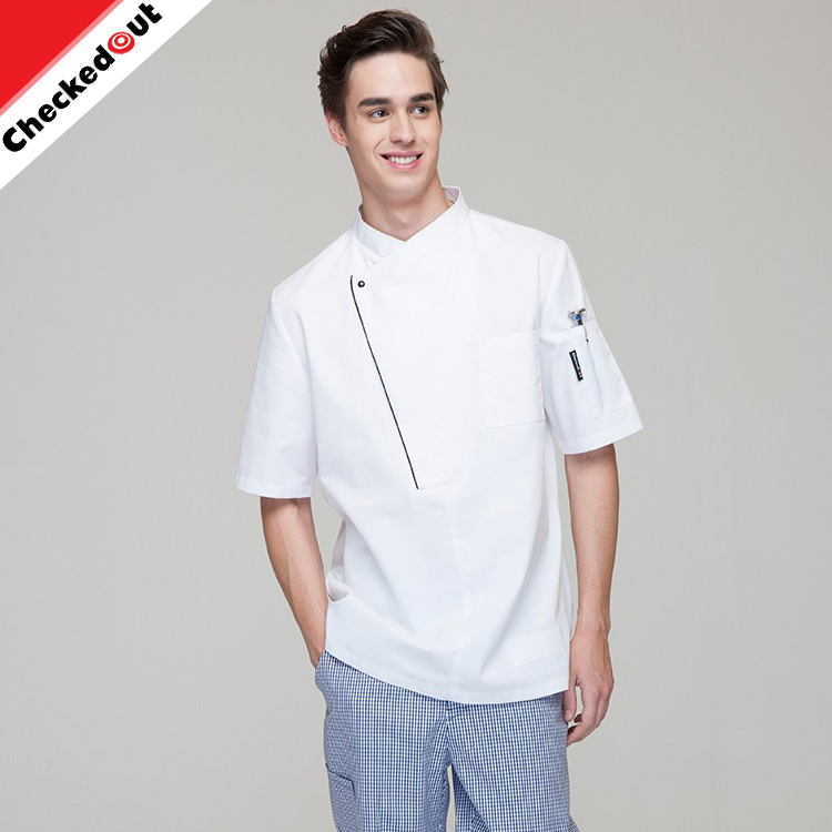 2017 New Short Sleeves stand collar Restaurant Hotel Jackets uniform White chef coat