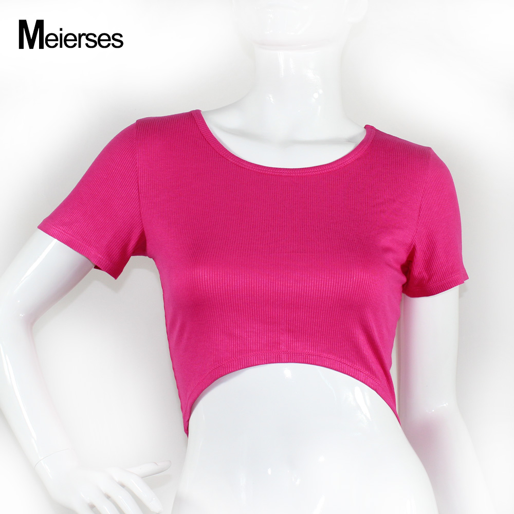 Women <strong>O</strong>-neck Short Sleeve Sports Crop Top Fitness Gym Clothing Casual T Shirts Stretch Breathable Running Yoga Top