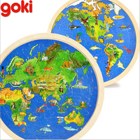 2016 new design goki sided world map jigsaw puzzle children's educational early childhood wooden puzzle
