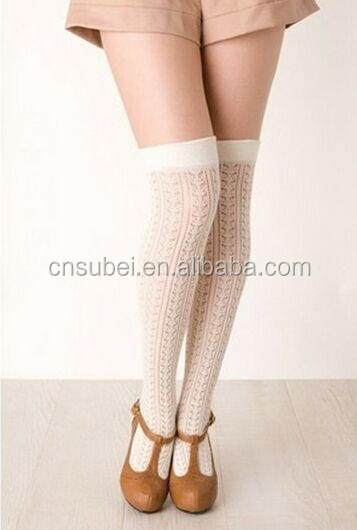 Over knee high girls hollow jacquard stockings
