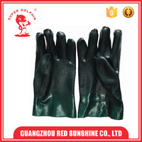 Sandy finished short sleeve pvc coated hand gloves for industrial work