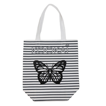 Custom Butterfly Striped Printing Nepal Shopping Cotton Bags Wholesale