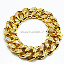 Hip pop micro pave cz 15MM new gold cuban link chain design for men