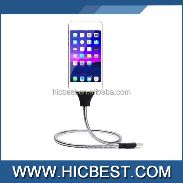 Flexible Metallic for Iphone to USB 8pin Charging Cable Stand 2 in 1 for Iphone 5/6/7