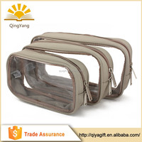 Wholesale sewing recyclable large capacity cosmetic transparent folding travel bag
