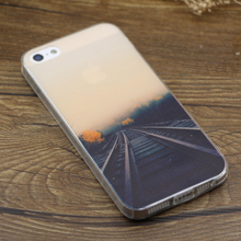 Custom tpu railway scenery printing silicone case for iphone 5s 6s transparent soft tpu skin cover