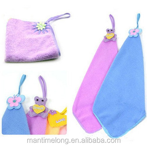 Lovely Nursery Hand Towel Soft Plush Fabric Cartoon Hanging Wipe Bathing Towel