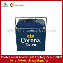 2015 new promotion 13L insulated retro metal cooler box,locking cooler box
