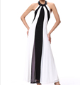 40D Kam spell color gauze jumpsuit hanging neck evening dress