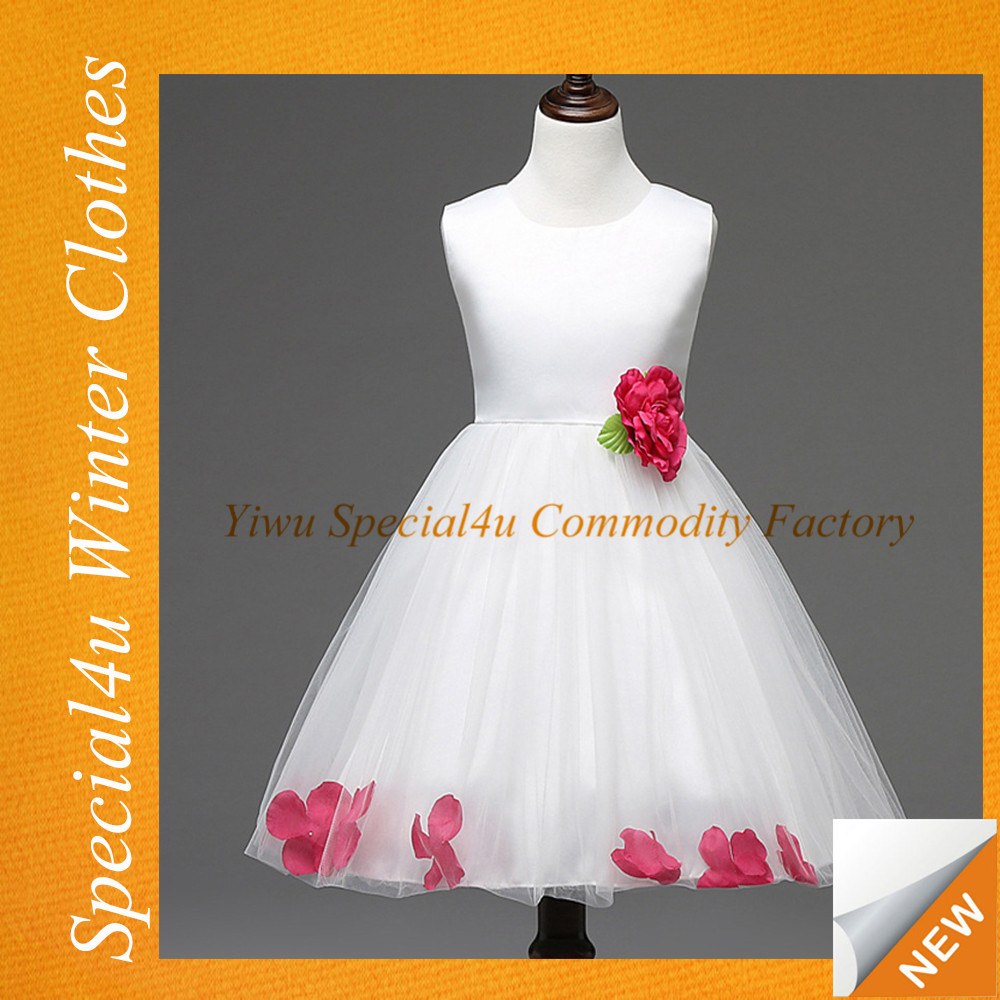 2016 new fashion girls party dresses white flower girl dress fancy children long frocks designs with red bow SA-151