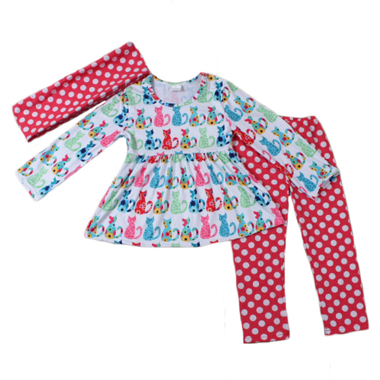 wholesale price cat printed baby girl clothing sets cheap clothes winter wearing clothes cotton adult baby clothes