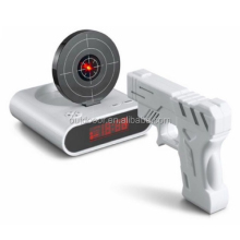 Unique 2.3 inch LCD Gun Target Shooting Alarm Clock Set (4*AA/2*AA)(White)