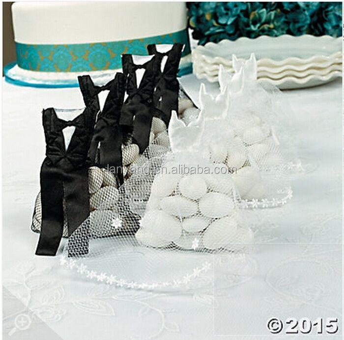 Wholesale Bride Dress Groom Suit Satin Tulle Wedding Favor Bags Bridal Shower Party Gift Bag Pouches
