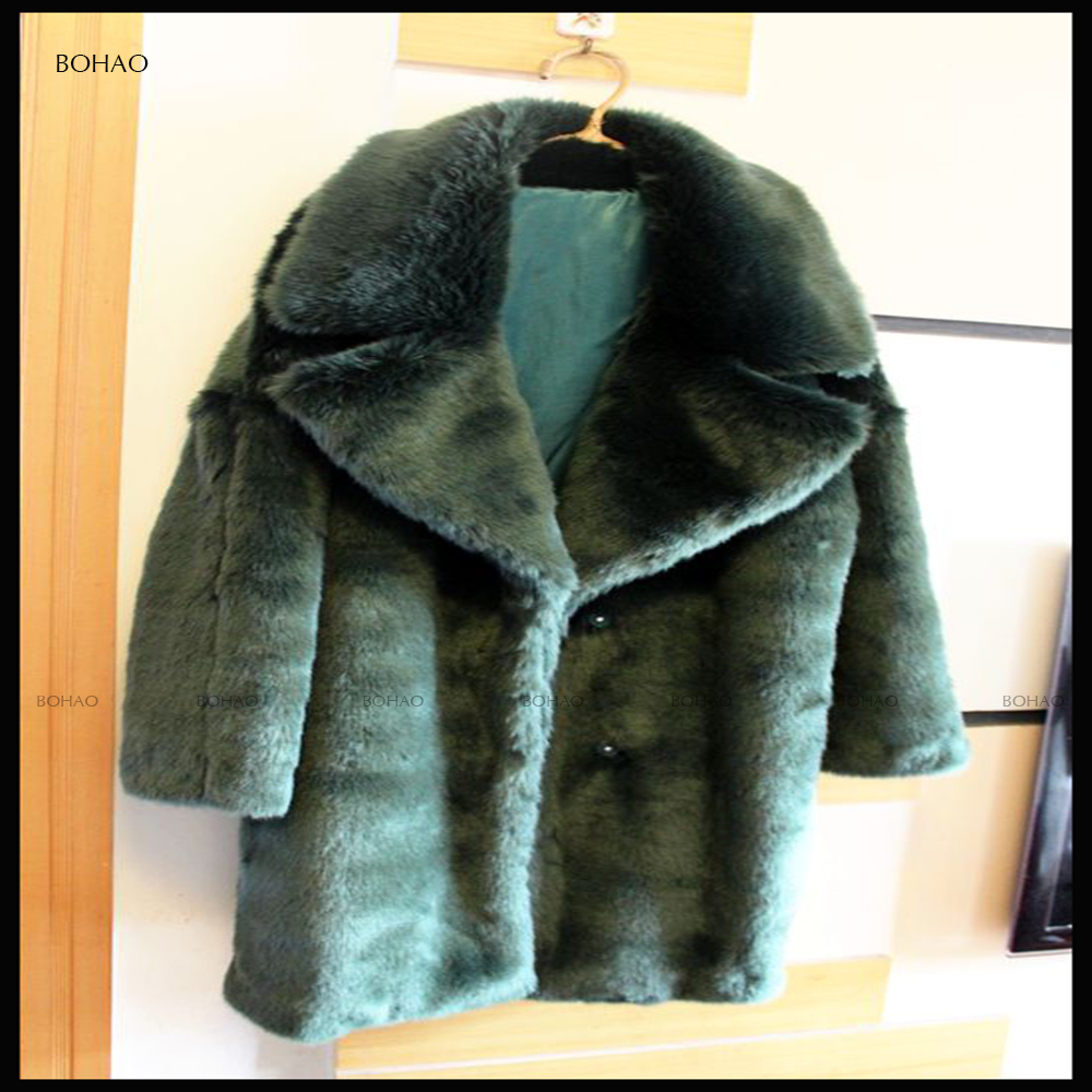 Fashion winter Classic lapel Shop Navy Oversized Faux Fur Coat