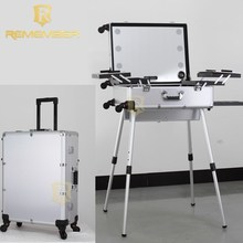 Aluminum professional rolling makeup trolley case with lights bluetooth speakers professional beauty box makeup vanity case