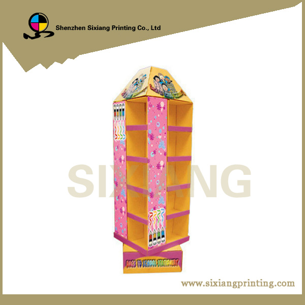 Retail Hot Sale Stationery Rotating Corrugated Cardboard Floor Display Stand