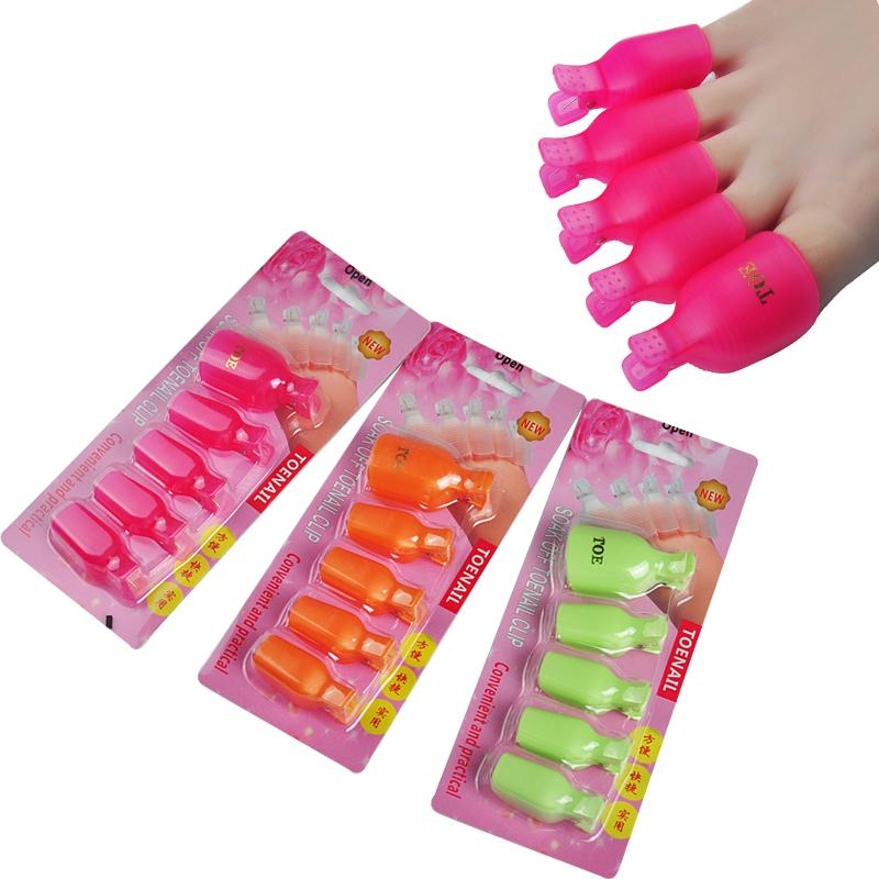 5Pcs Plastic Foot Toe Nail Art Soak Off Cap Clip UV Gel Polish Remover Wrap Tool