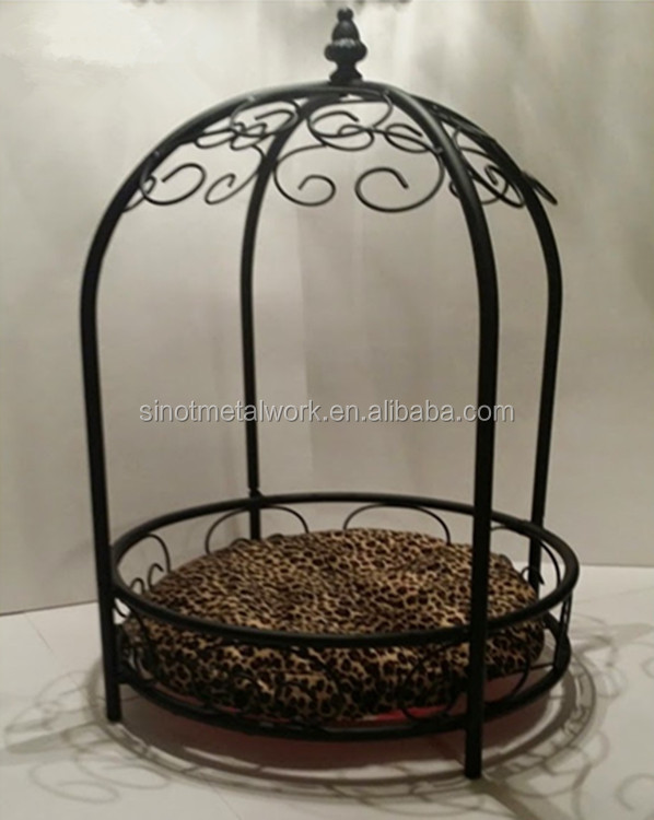 Luxury iron pet dog bed canopy round pet bed with leopard mattress
