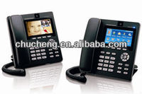 3 lines voip wifi sip phone skype GXV3140 with integrated poe