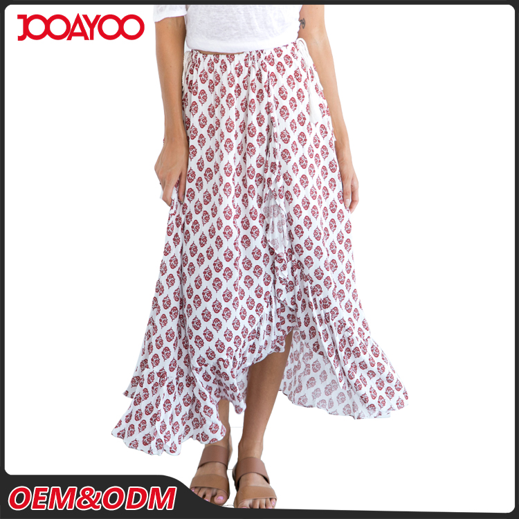 Mature Women Print Floral Maxi Skirt Latest Long Skirt Design