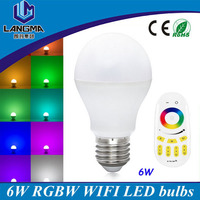 Cheap price auto colors changeable 6w 2.4G RF smart remote light bulb