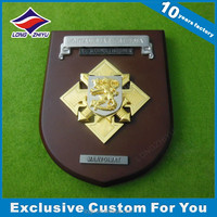 Custom 3D Embossed Logo Wooden Shields Awards Plaque Gifts Souvenir