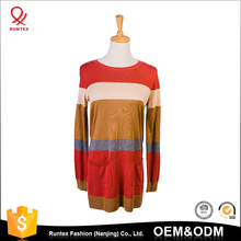 2017 New Wholesale lady knitwear Women striped round neck long pullover sweater designs for girls