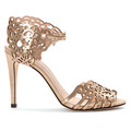 new style gold color upper stylish high heel laser cutting sandal