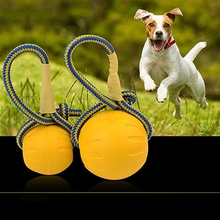 Wholesale <strong>Pet</strong> Chew Toy Elastic Ball Molar Bite Resistant Tooth Toy Dog Training Ball Toys With Rope Handle Diameter: 7cm