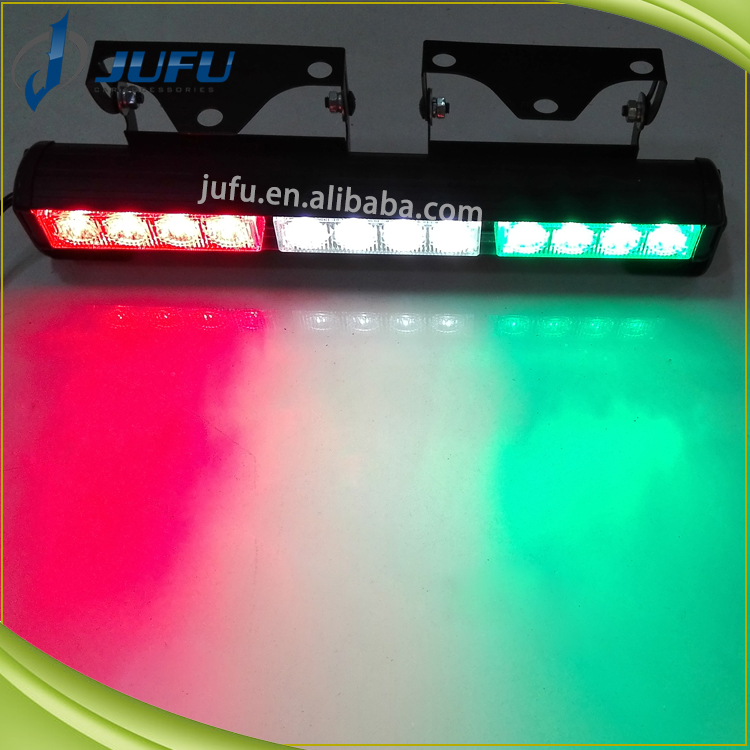 High power 12V 12W Red blue green amber white led strobe light bar, hazard light , deck dash interior warning flashing light