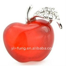 Crystal Red Apple Fruit Austrian Crystal Pin Brooch