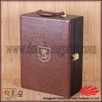 Wholesale leather wine bottle packaging box wooden case