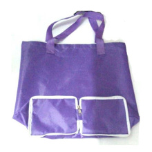 Custom Reusable Foldable Nylon Purple Shopping Bag with Zipper