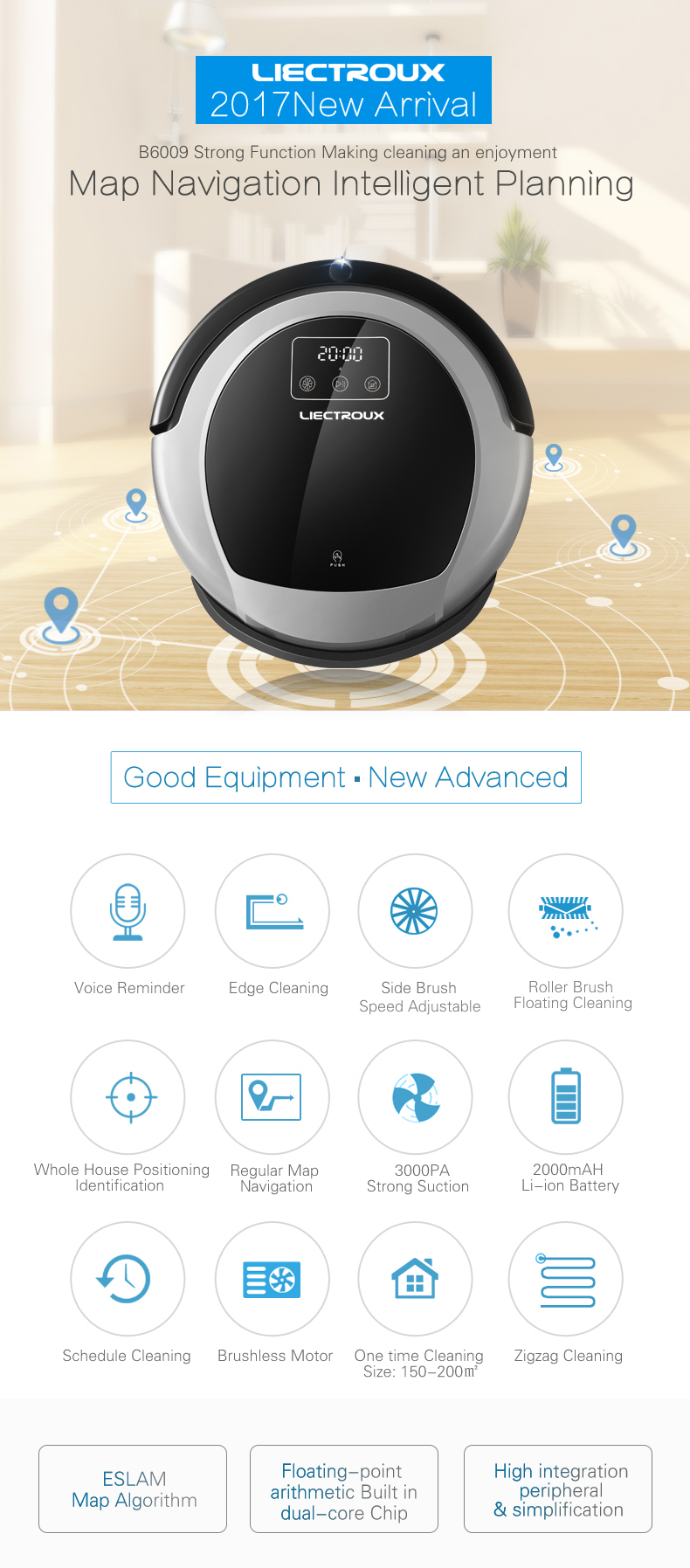 China Factory OEM/ODM Robot Vacuum Cleaner B6009,WIFI APP, 2D Map Navigation & Smart Memory,Virtual Blocker,Brushless Motor