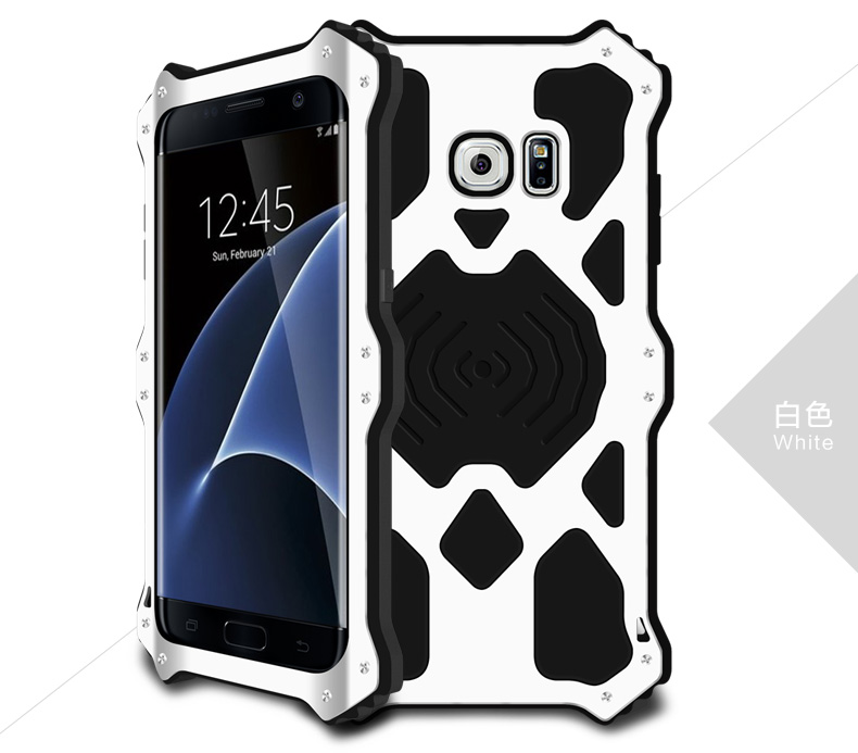 LOVE MEI MK2 Shock Resistant Hybrid Metal Rugged Leather Silicone Case for Galaxy s7
