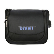 High quality polyester black hanging mens toiletry bag for travel