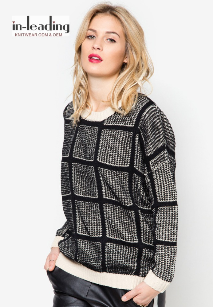 Lady fashion dress knitting yarn pullover sweater with modern
