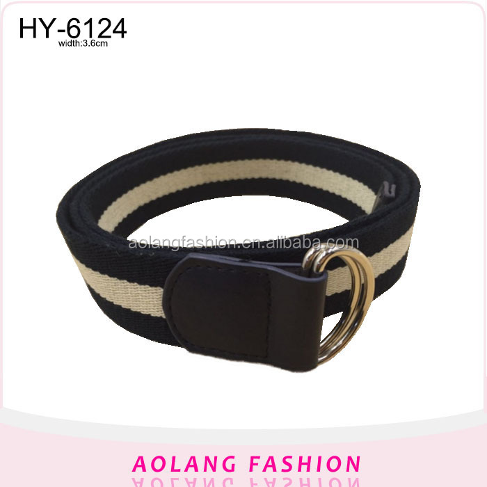 Excellent quality OEM boys canvas webbing belt with D ring buckle