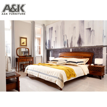 Modern fabric bed for bedroom furniture sets double wood bed