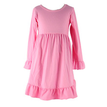 Kaiyo new style long sleeve cute girls dress wholesale cotton knit little girls solid color winter formal dresses