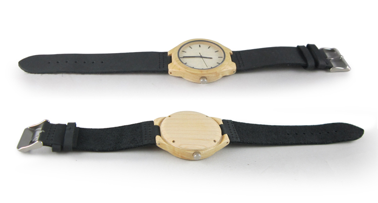 OEM Eco-friendly Wood with Genuine Leather Strap Watches