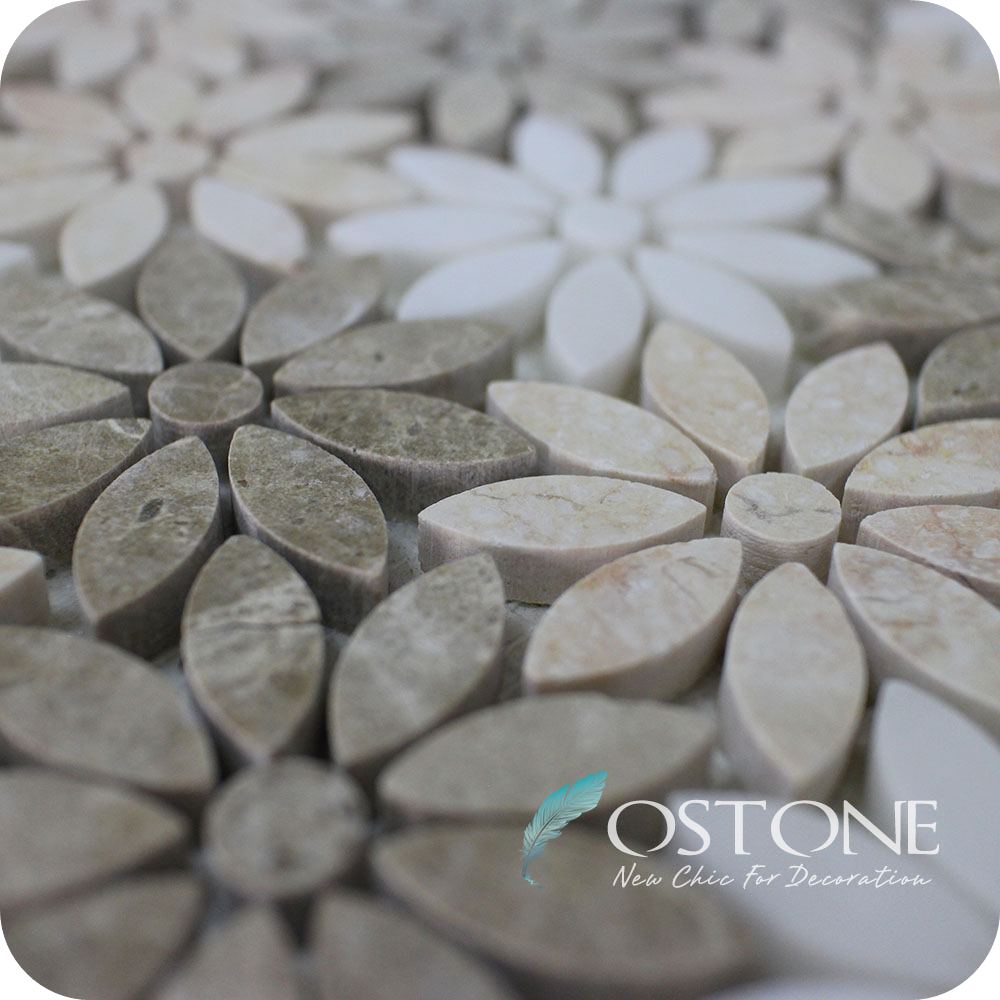Factory Direct Sales Emperador Light Thassos White Water Jet Marble Tile Beautiful Free Mosaic Flower Patterns