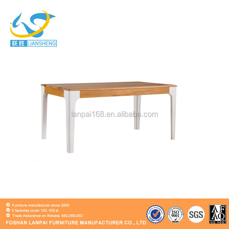 2016 modern heat selling wood top metal base modern dining table