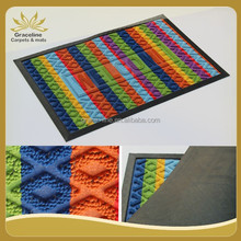 Loop pile fabric rubber door mat with welcome