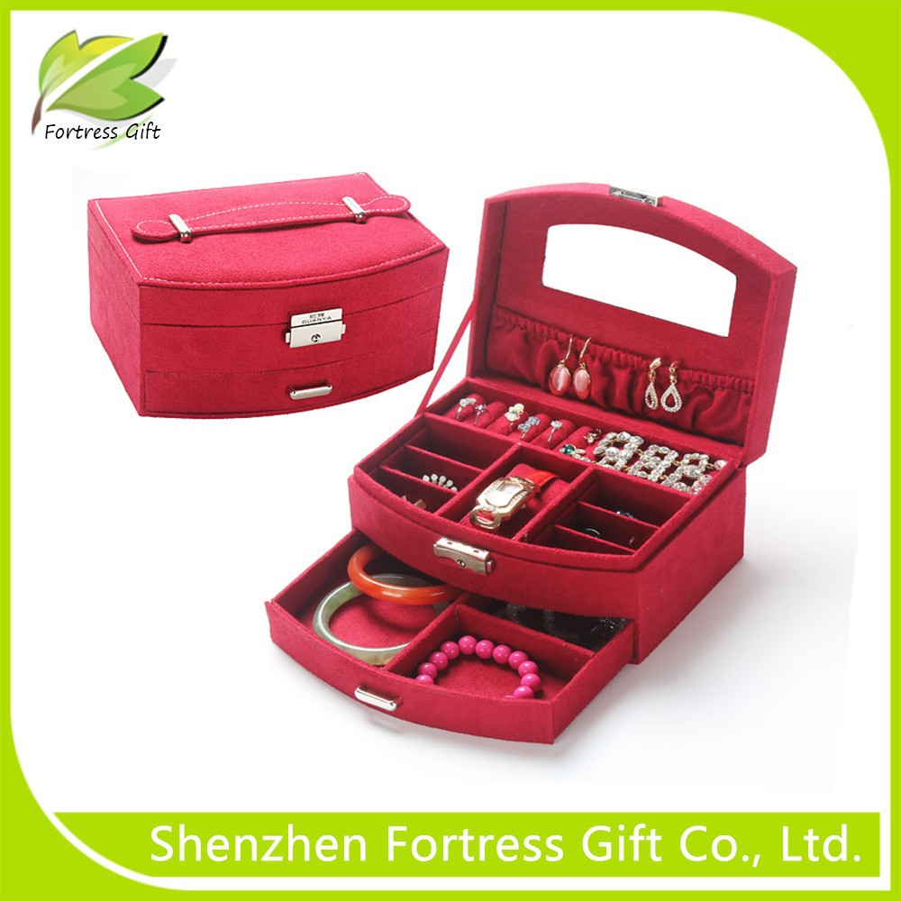 Fanshape velvet jewelry display box with draw and jewelry case for women