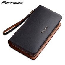 OEM/ODM Business Men Cowhide Leather Card Wallet Clutch Bag Pouch Long Zip-Around Wallet Handbag