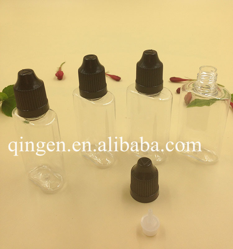 China supplier empty pet plastic oval clear bottles with childproof caps for e cig